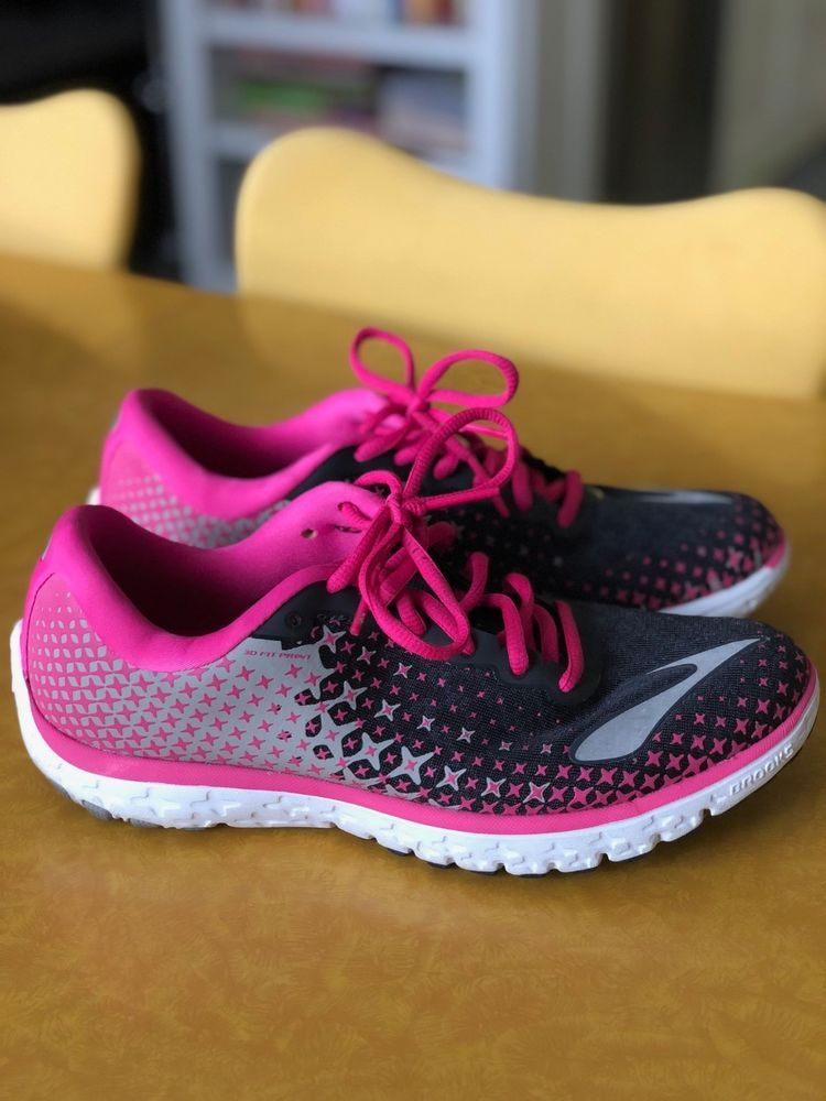 d24b3a9cc055c Womens BROOKS PureFlow 5 Size 9 Black Pink Running Shoes-Only Worn 1 ...