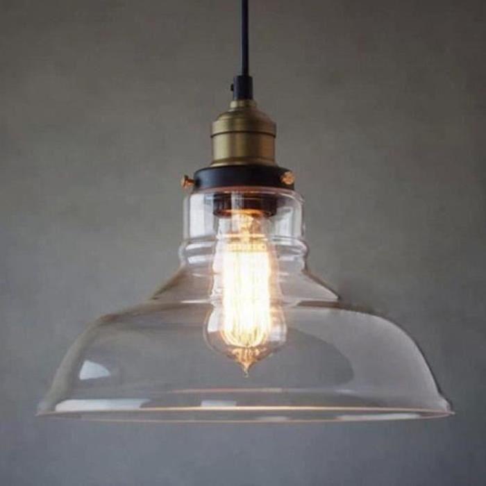 Lustre verre américain rural classique industriel grenier créative cantine bar simple désign vintage lustre luminaire pendentif