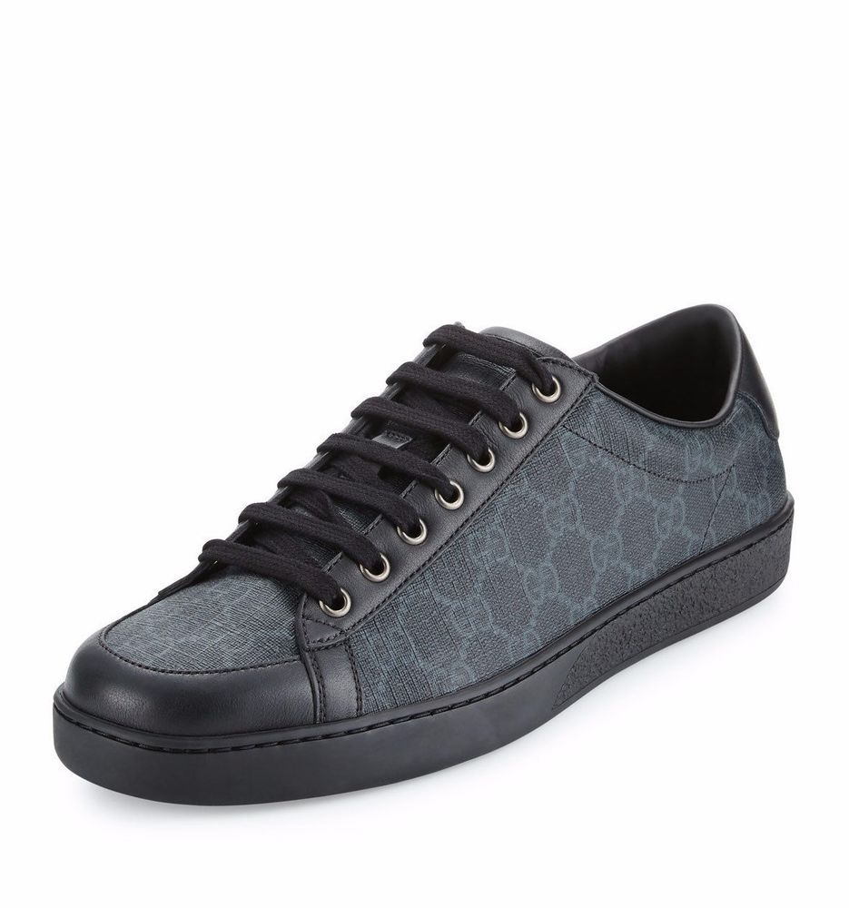 NIB Gucci Mens Black Brooklyn GG Supreme Canvas Lace-Up Sneakers Low-Top  10.5