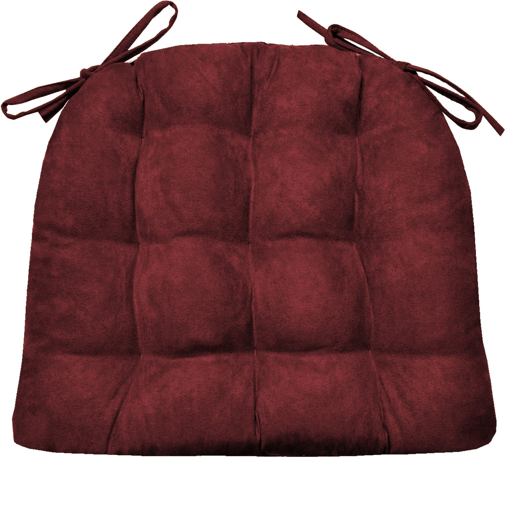 Micro Suede Claret Red Dining Chair Pads Latex Foam Fill Reversible