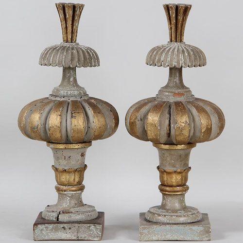 """Pair of Antique Gilt Wood Garniture Spires  19.5""""H x 10"""" x 10"""""""