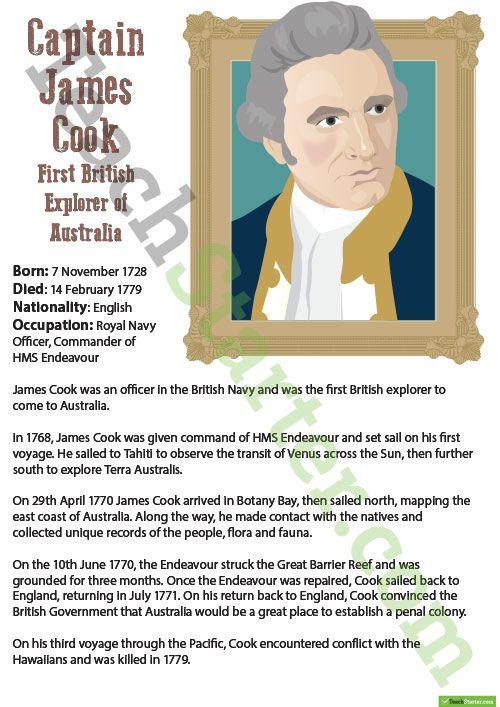 Significant Explorers Of Australia Captain James Cook Teaching