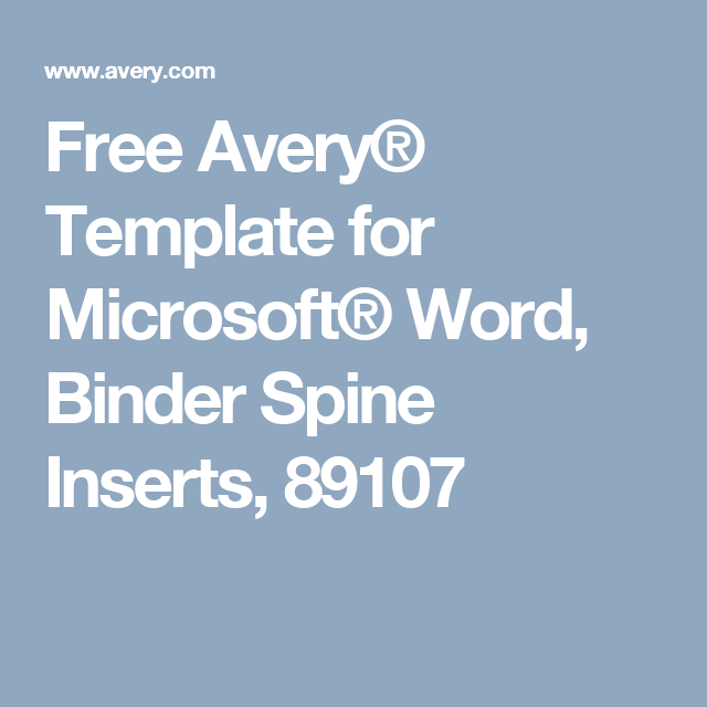 free avery template for microsoft word binder spine inserts