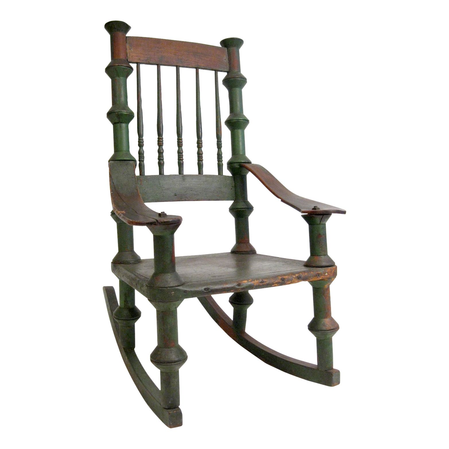 Early 20th Century Reclaimed Wood Rocking Chair | VandM.com Old Wooden  Spindles