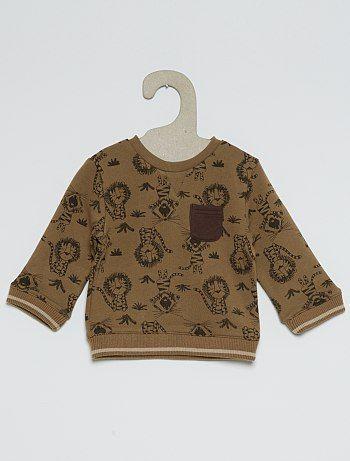 Sweater van joggingstof met een print                                                                                                                                             beige Jongens babykleding
