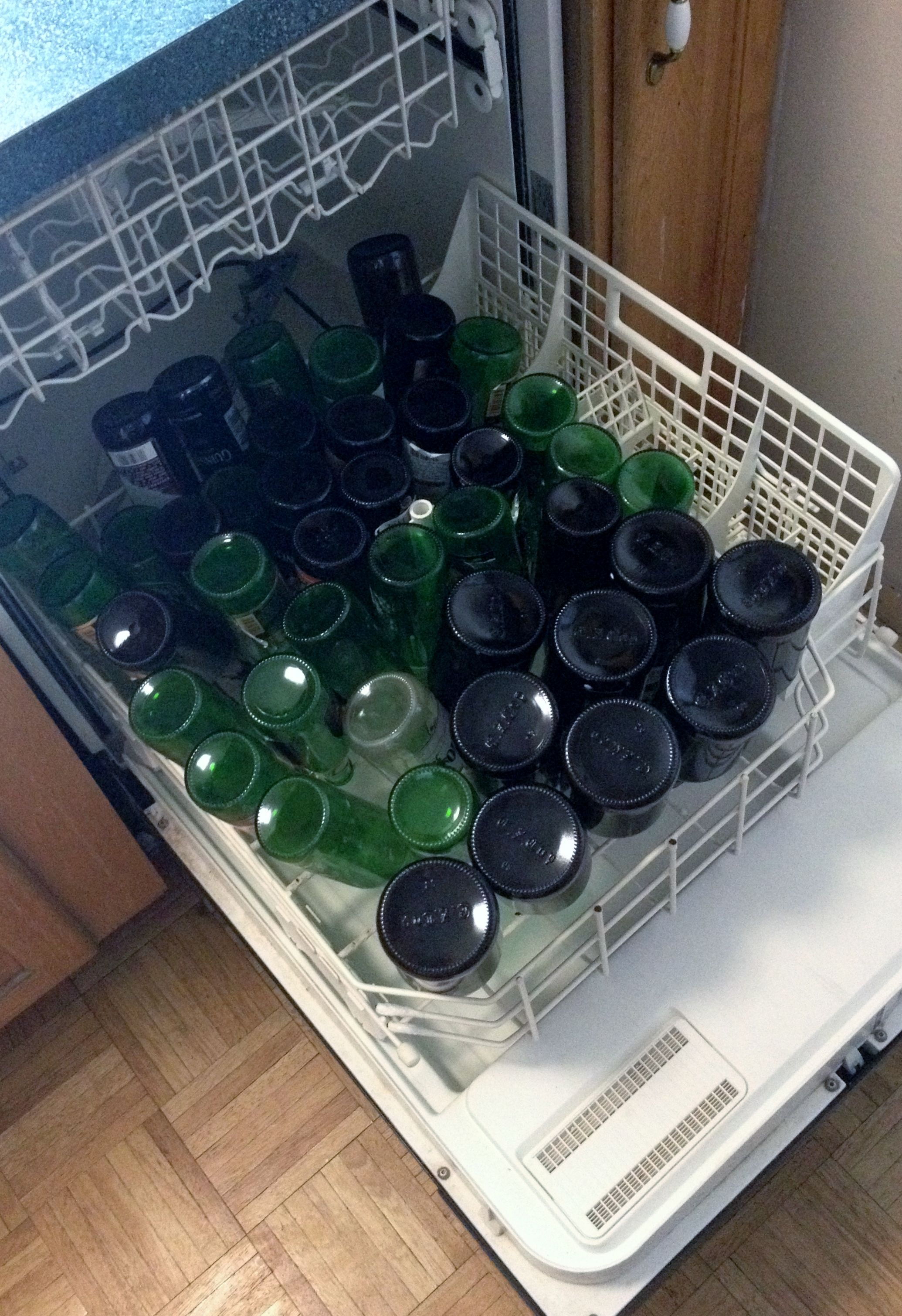 Beginners Homebrew tip: Don't spend a half day sanitizing each bottle. Run them through your dishwasher with just a touch of Starsan.