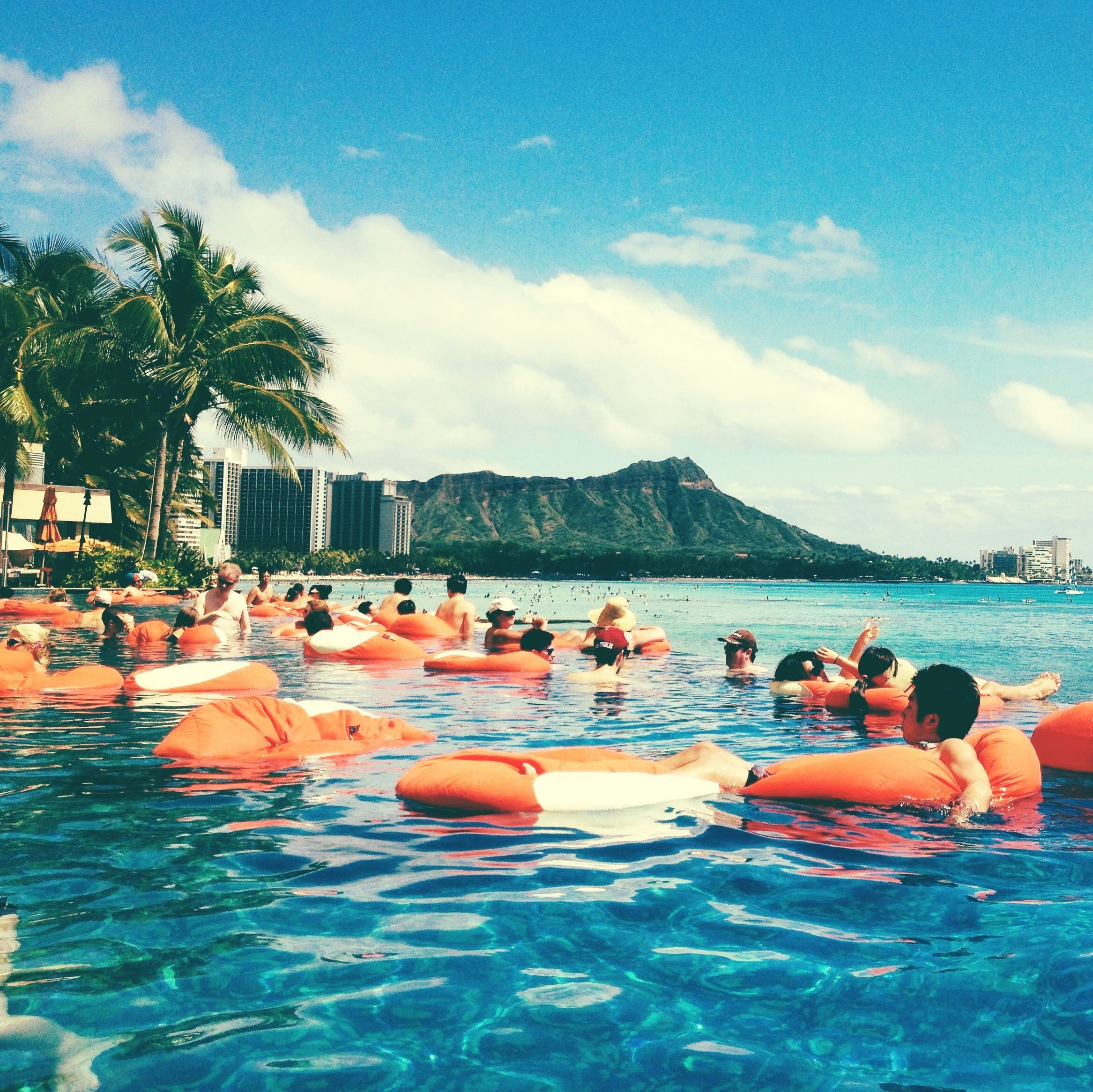 Floating bean bag chair land Sheraton Waikiki