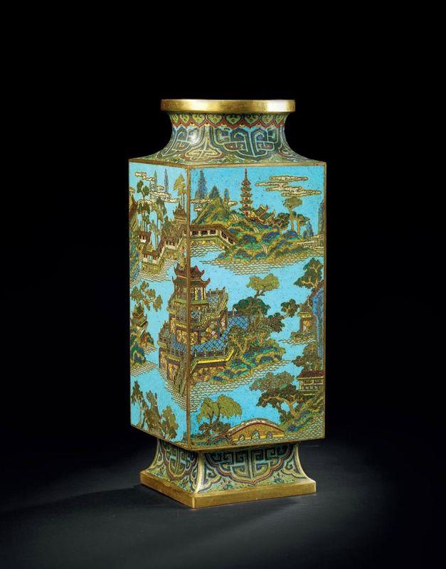 A rare cloisonné enamel rectangular cong-form vase, China, Qing dynasty, Qianlong period (1736-1795)