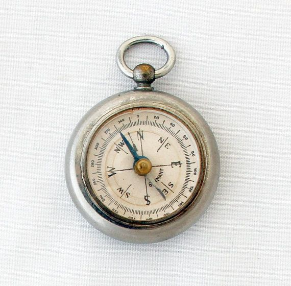 Antique Victorian Desk Compass Vintage German Pocket Compass