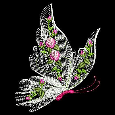 Flutterby luv #1 - 30 machine embroidery designs (azeb) | Machine ...