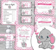 Printable Baby Shower Kit Pink Elephant Theme (7 Items)   INSTANT DOWNLOAD  1.