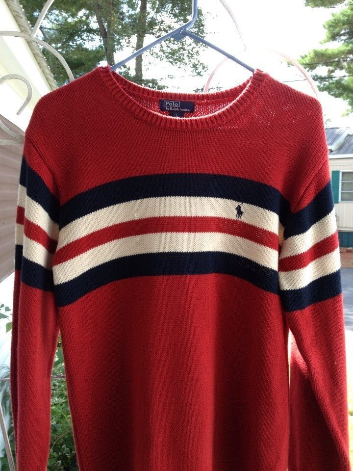 Polo Ralph Lauren Red Sweater with Red White Blue Stripe Mens ...