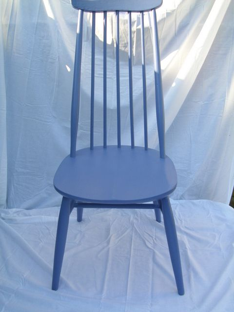 Ercol chair painted in Pitch Blue by Farrow & Ball ...