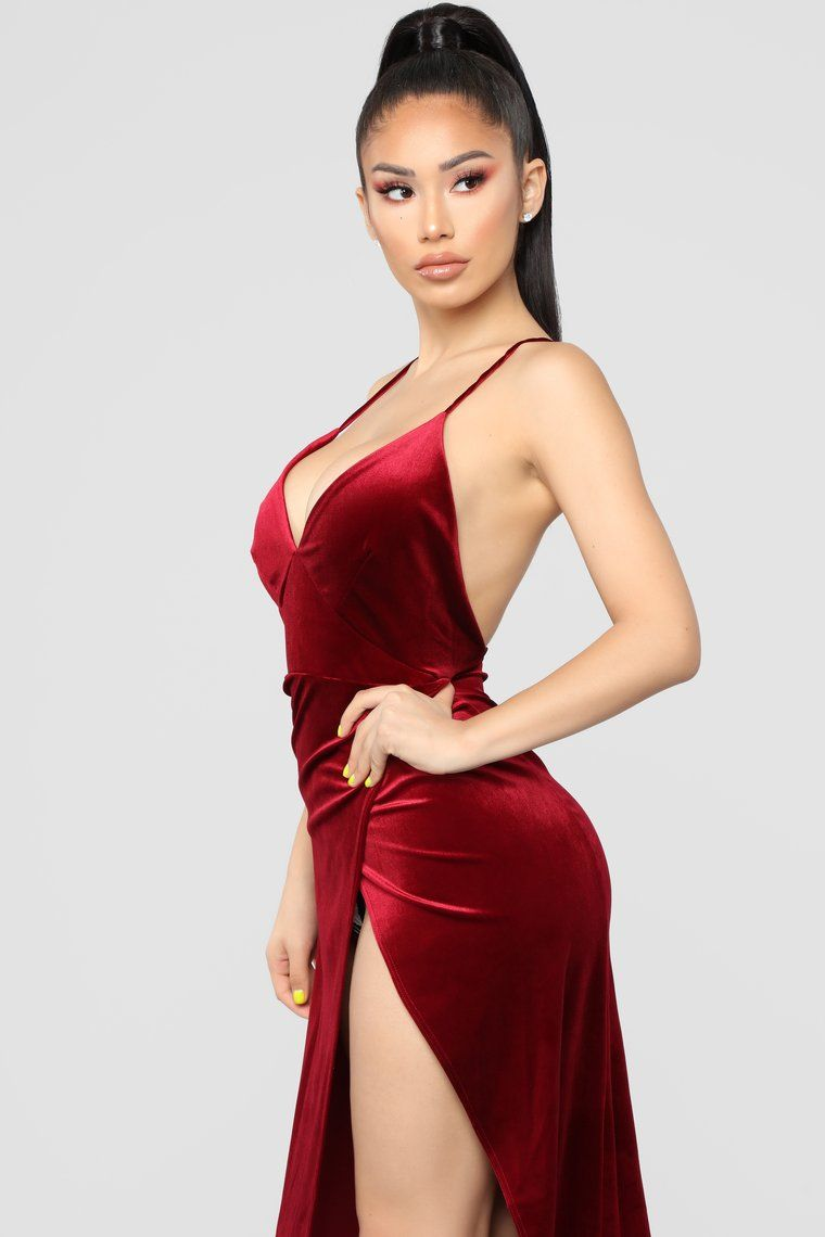 7620638fd1f Angelique Velvet Maxi Dress - Dark Burgundy SEXY HOT RED PHATPHATIYA