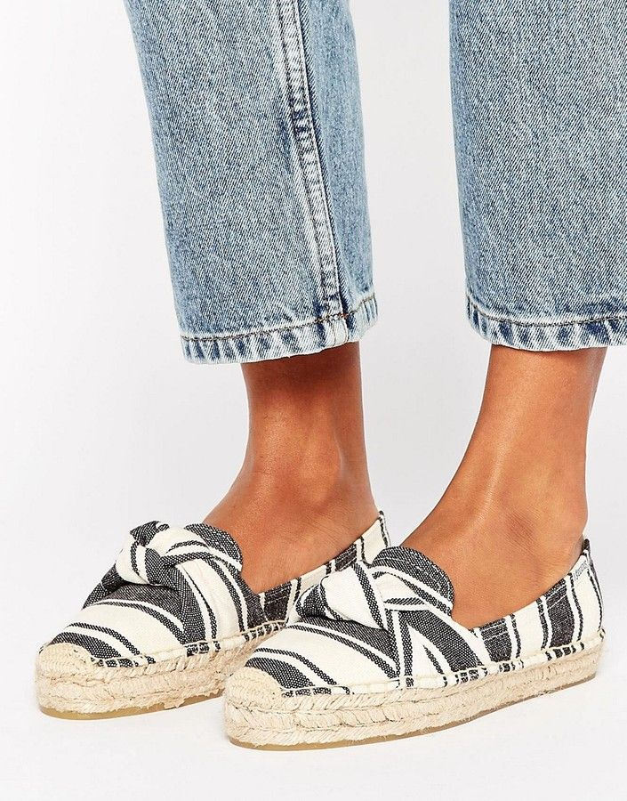 Soludos Stripe Knotted Platform Espadrille Smoking Slippers