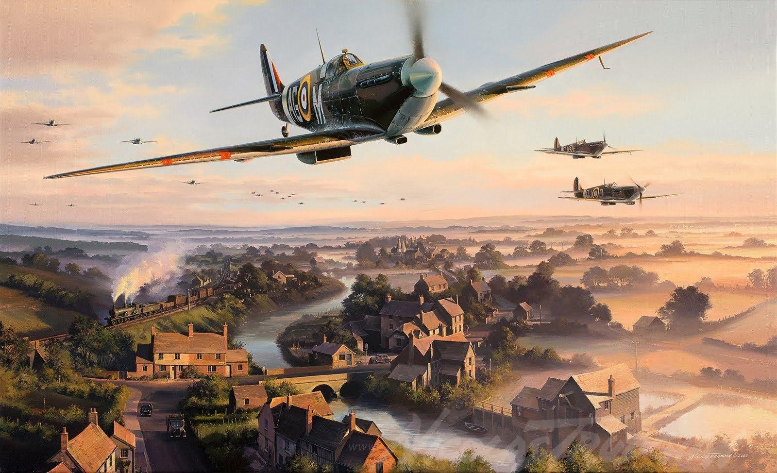 "Battle of Britain//Summer 1940 /""Return to the Bump//Biggin Hill/"" Gil Cohen Print"