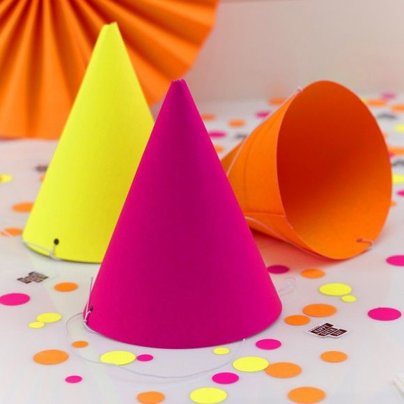 Neon party hats - set of 9