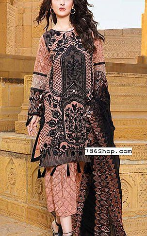 PeachBlack Crinkle Chiffon Suit   Buy Motifz Pakistani