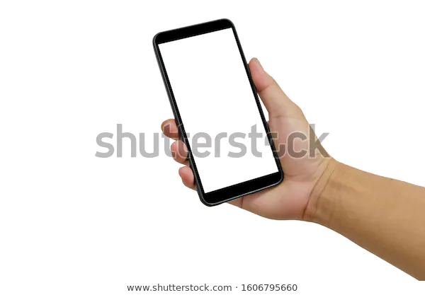 Hand Holding Smartphone Black Blank Screen Stock Photo Edit Now 1606795660 Photo Editing Stock Photos Photo