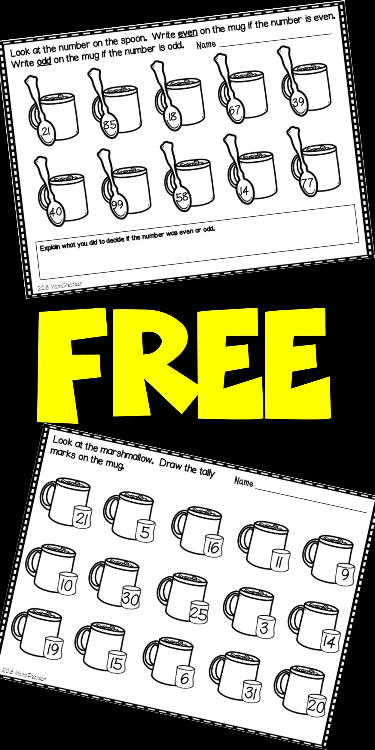 Free Hot Chocolate No Prep Math Printables