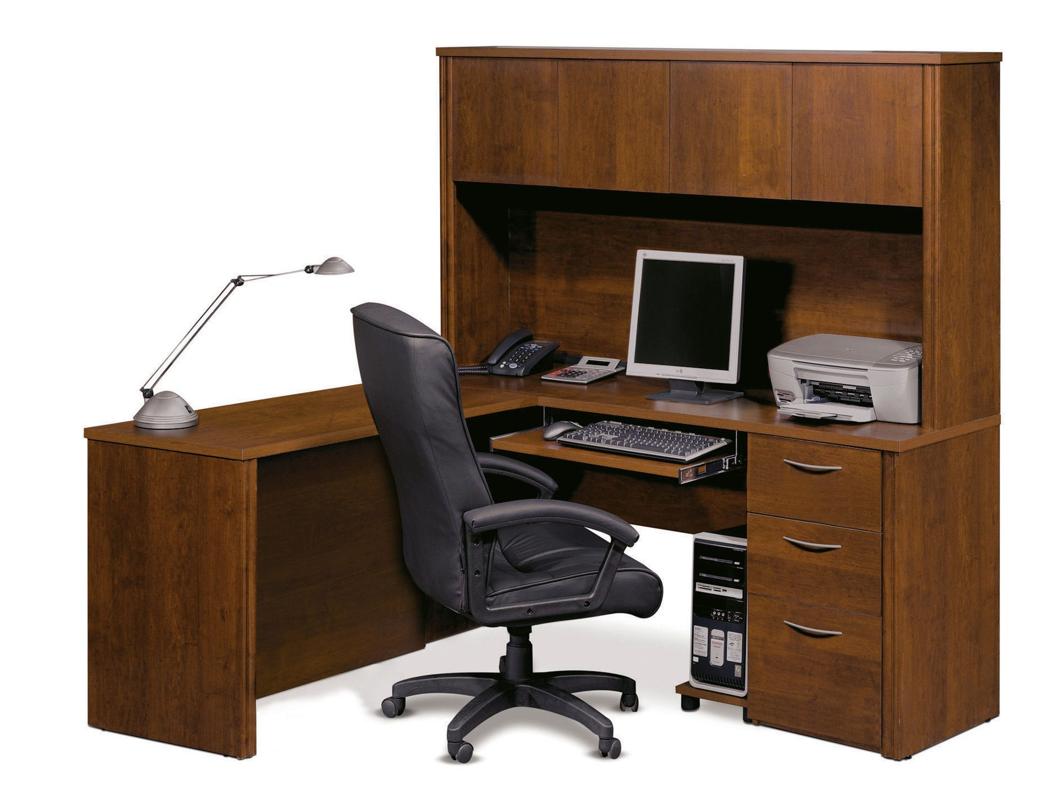 Elegant L Shaped Premium Office Desk With Hutch In Tuscany Brown
