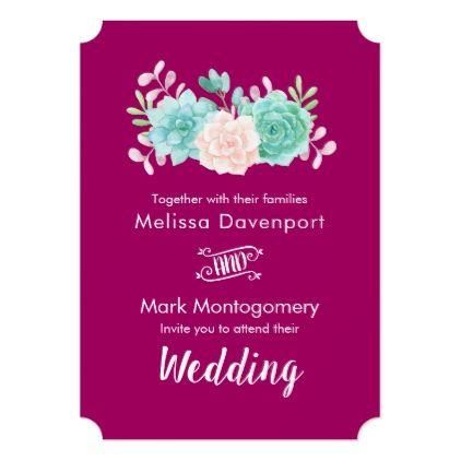 Pastel Pink Green Floral Bouquet Wedding Card Wedding