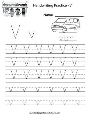 kindergarten letter v writing practice worksheet printable handwriting kindergarten. Black Bedroom Furniture Sets. Home Design Ideas