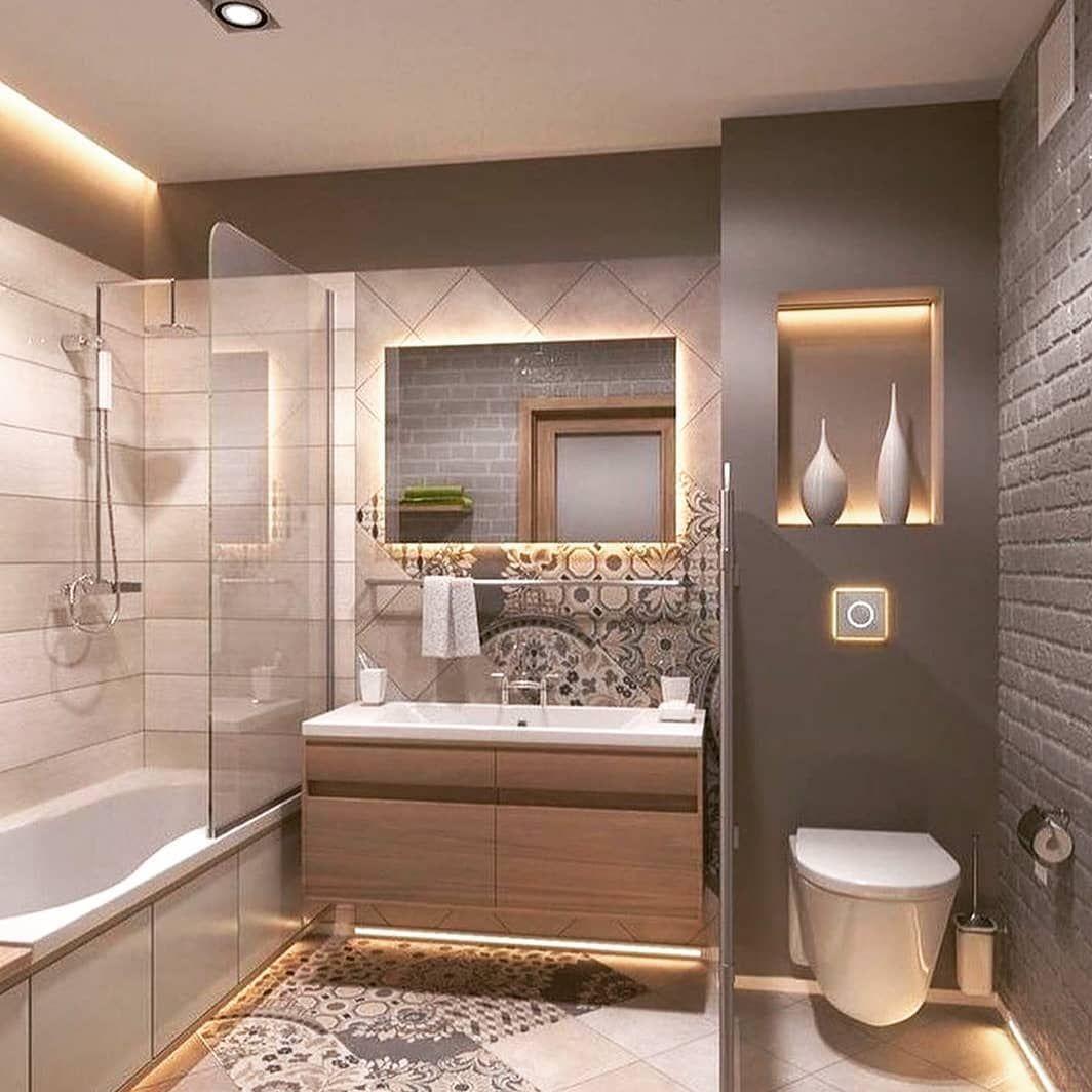 Ich Liebe Die Beleuchtung In Diesem Badezimmer Badezimmer Beleuchtung Die Di In 2020 Modernes Badezimmerdesign Kleines Bad Renovierungen Kleine Badezimmer Design
