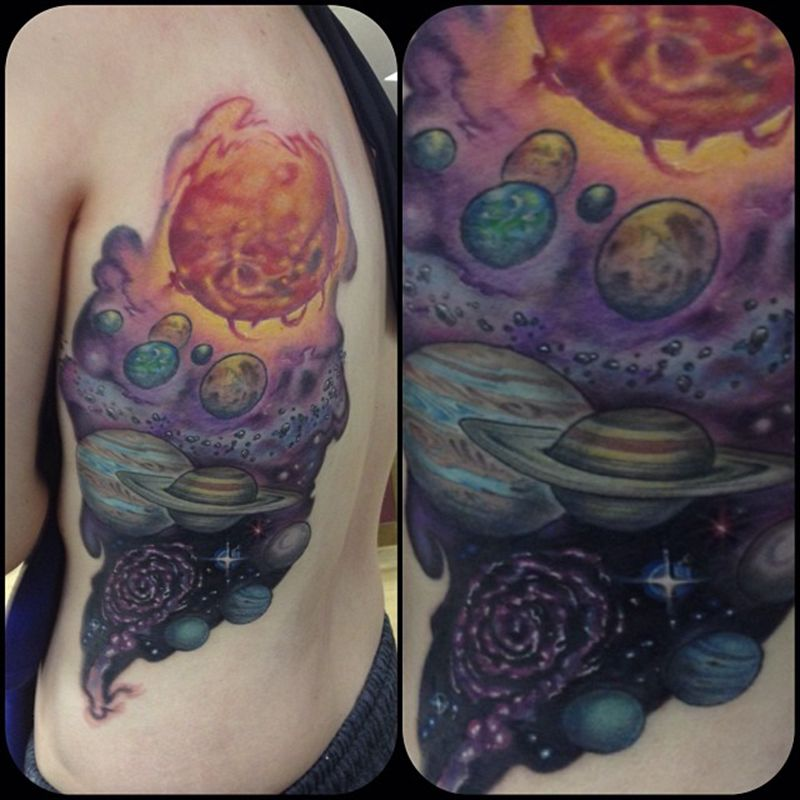 Galaxy Solar System Tattoo Healed Healing Tattoo
