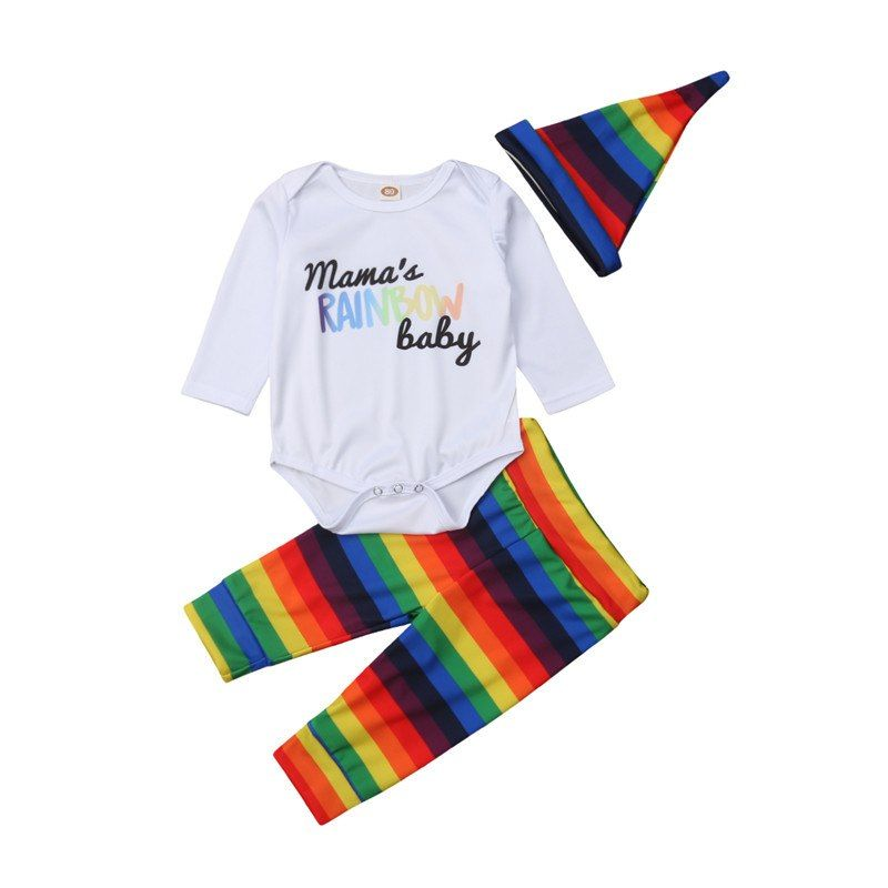 6fdd9ee7aeb2e Cute Newborn Baby Boys Girls Clothes Striped Pants Geometry Hat Round Neck  Long Sleeve Letter Print Bodysuit 3pc Autumn Outfits