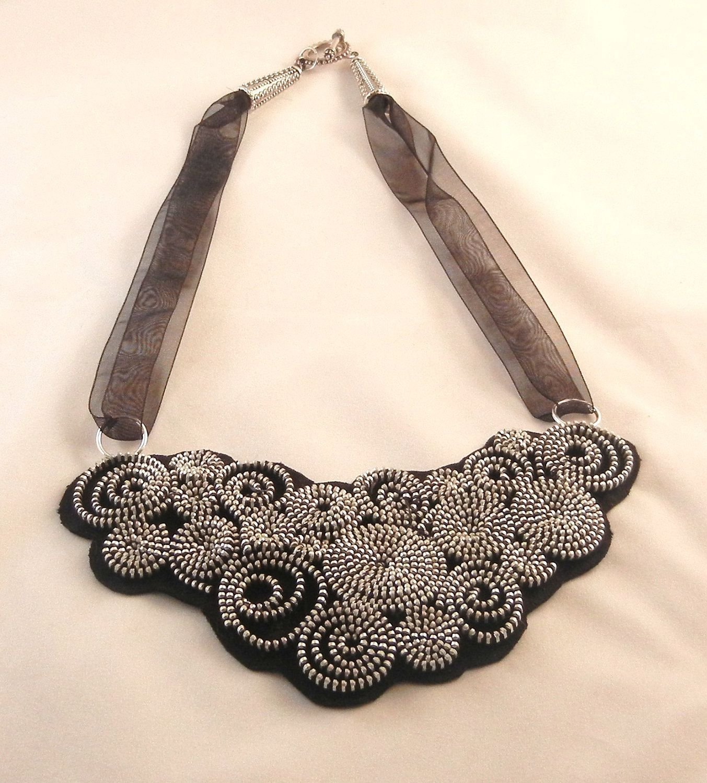 Zipper Bib Collar Necklace. $85.00, via Etsy.
