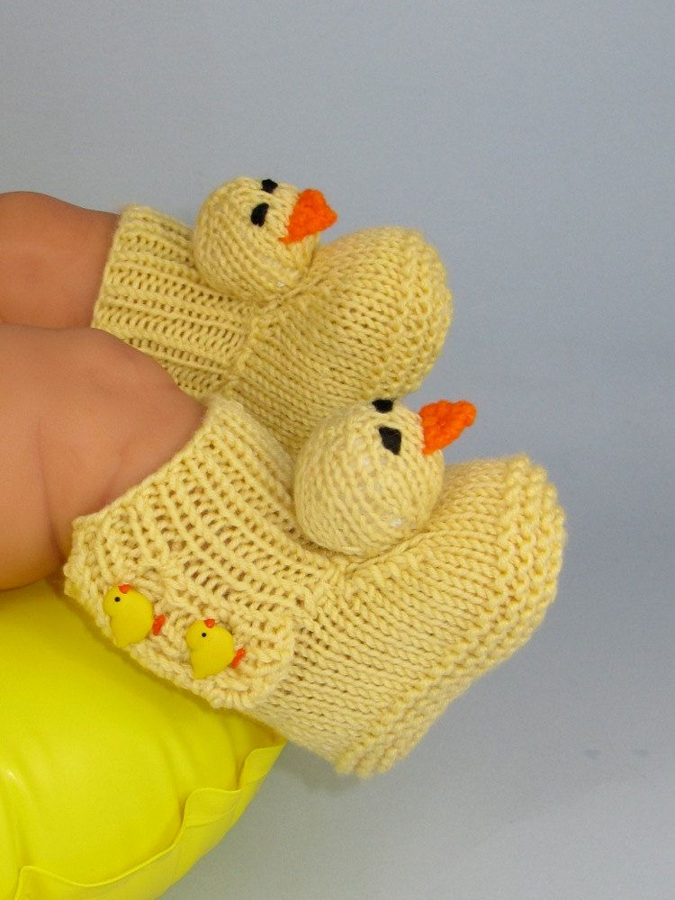 Digital pdf file Knitting Pattern -Baby Chick Booties (Boots ...