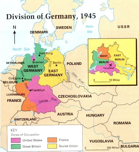 Map of East and West Germany with a seprate map for Berlin CC – Divided Germany Map