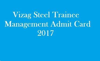 Hightlightsforeducation: Vizag Steel Management Trainee  Admit Card 2017