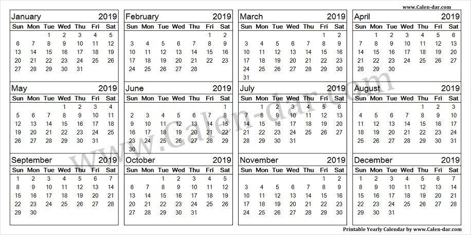 Monthly 2019 Calendar Template Yearly Calendar 2019 Calendar