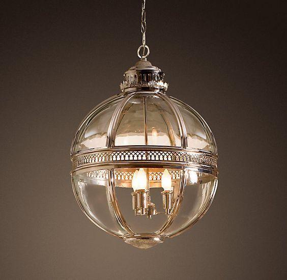 19Th C. Victorian Globe Pendant Chandelier Polished Nickel Dia ...