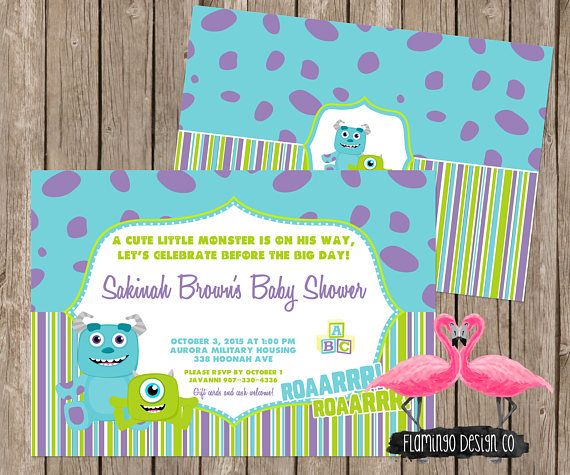 Monsters inc inspired baby shower invitation flamingo design co monsters inc inspired baby shower invitation filmwisefo Image collections