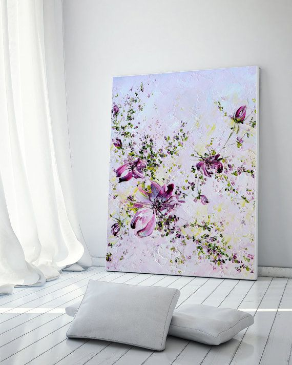Roses Flowers Original Oil Painting Palette Knife Hallway Wall Decor