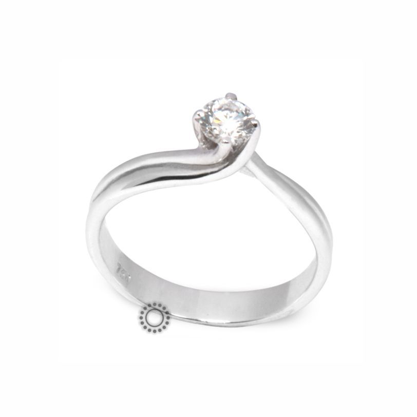 Μονόπετρο δαχτυλίδι φλόγα με Brilliant (μπριγιάν) σε λευκόχρυσο 18 Καρατίων   472dc581769