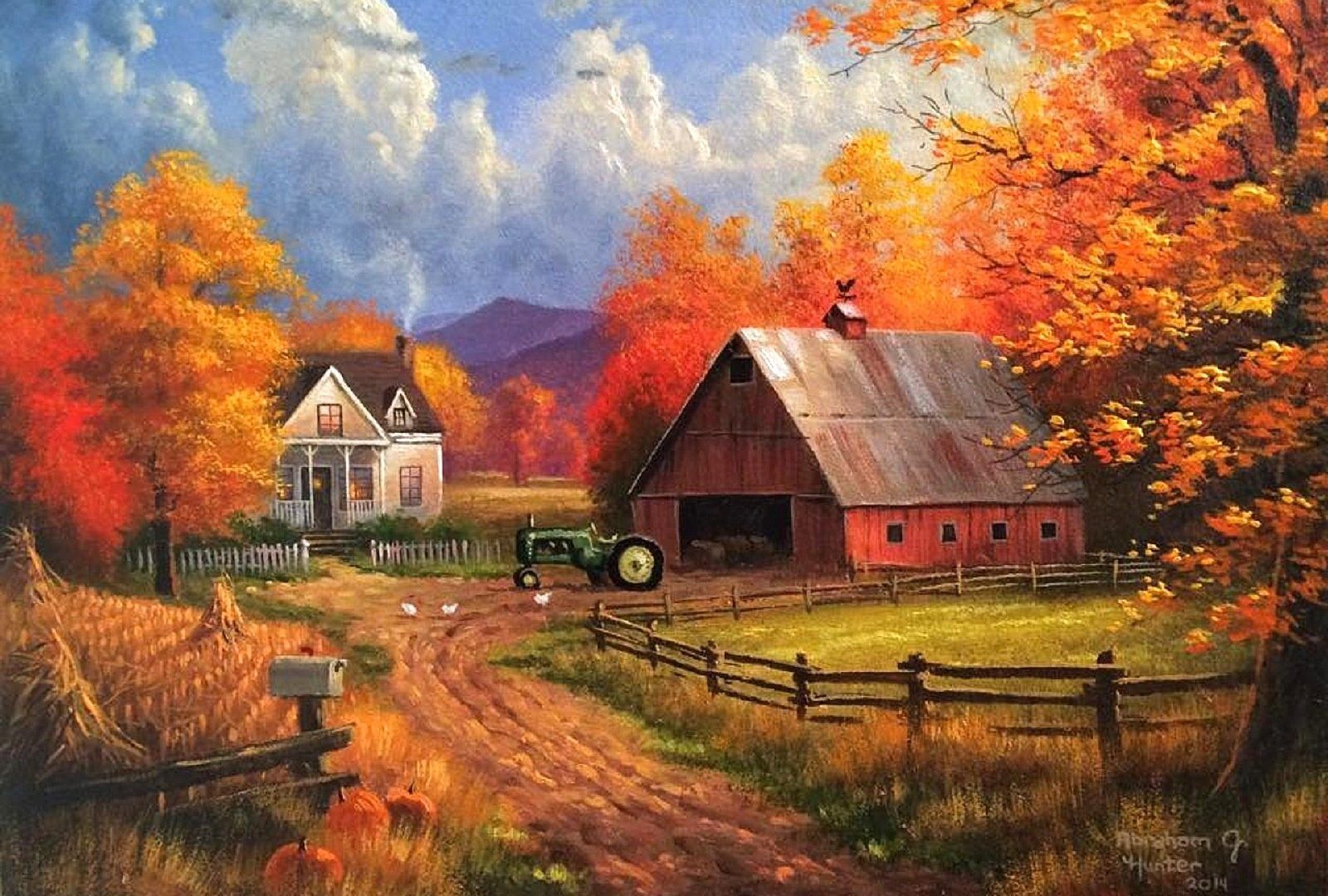 Farms Autumn Farms Paintings Colors Trees Nature Fall