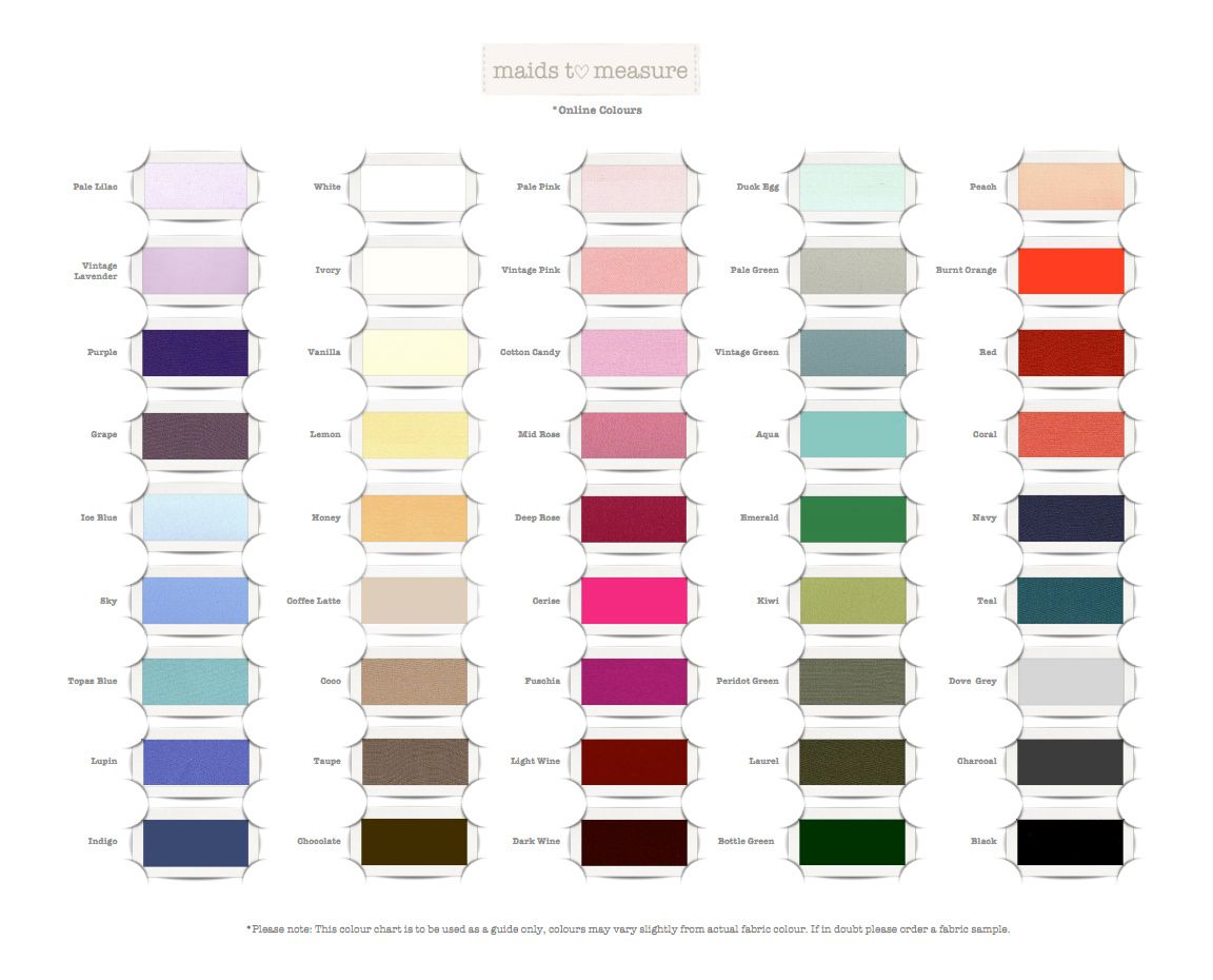 Maids to measure colour chart maidstomeasure bridesmaids maids to measure colour chart maidstomeasure colour chartdress designsbridesmaid ombrellifo Images