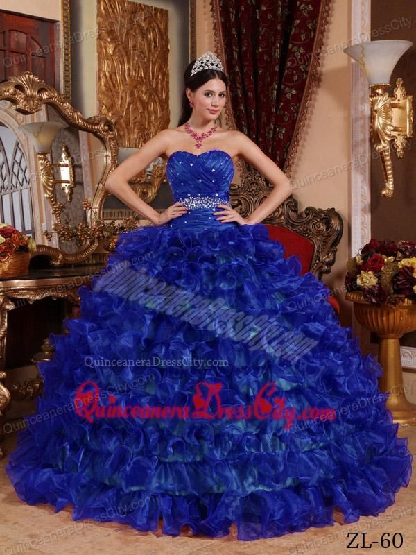 Royal Blue Ball Gown Sweetheart Floor-length Organza Beading ...