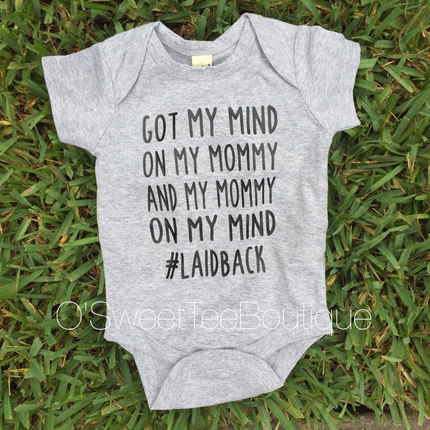 Funny Got My Mind On Mommy Laid Back Toddler Kids Tee Shirt or Baby Bodysuit