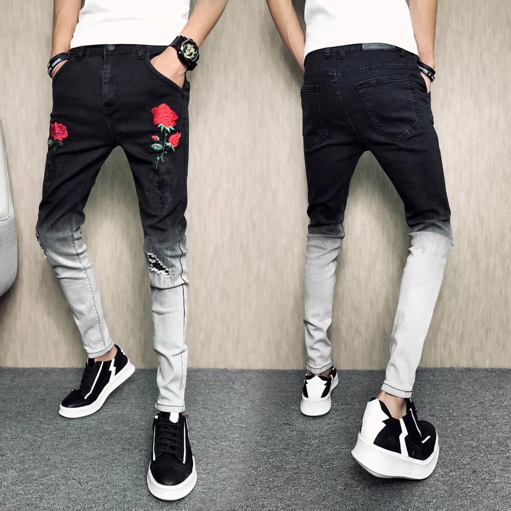 Jeans Casual Slim Fit Black Hip Hop Denim Pants Jeans Patchwork Fashion Dress Shoes With Jeans Fashion Dress Shoes [ 1000 x 1000 Pixel ]