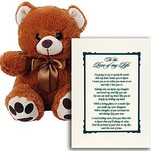 I Love You Gift for Wife, Husband, Boyfriend or Girlfried - A Perfect Anniversary Gift - Includes a Plush Teddy Bear and Love Poem in Picture Frame Matte $29.99