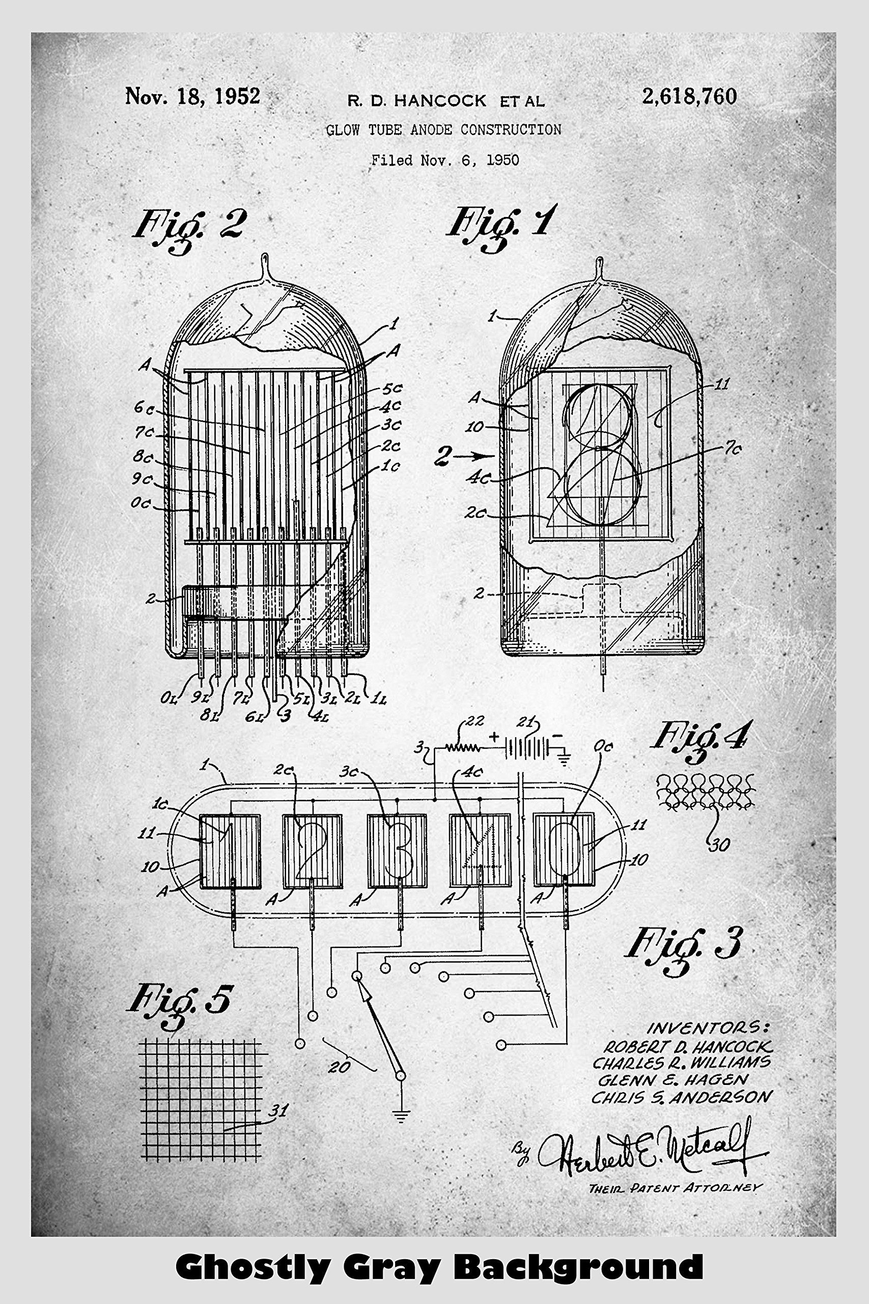Patent Art Poster Conrad Westinghouse Electric 1929 Vacuum Tube F