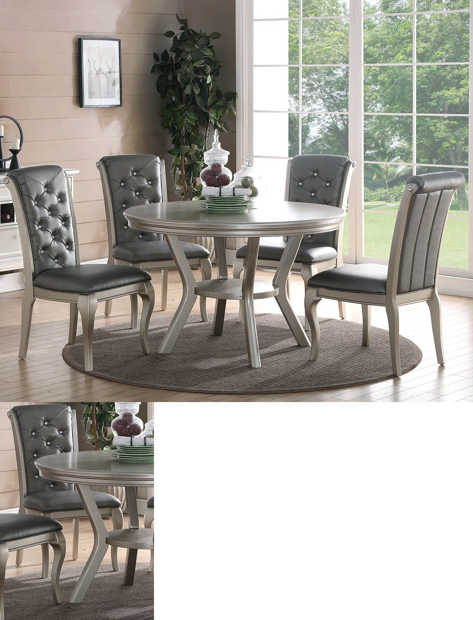 Dining Sets 107578 Zeyna 5Pc Round Platinum Silver Finish Wood Glamorous Dining Room Table And Chairs Ebay Design Inspiration