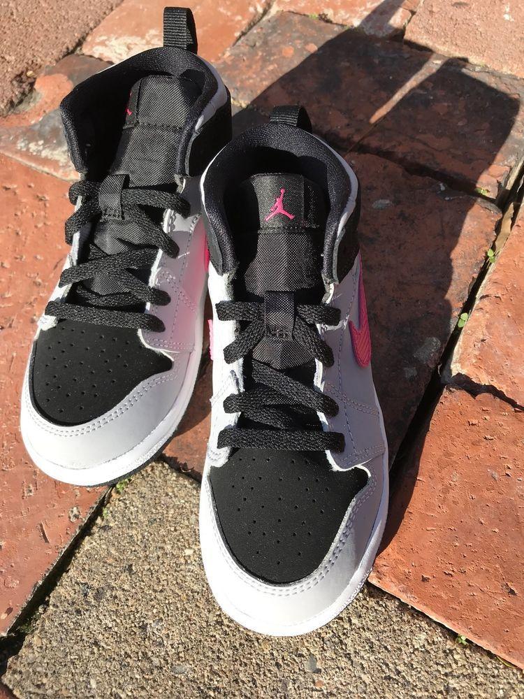 25ba18092 Nike Air Jordan 1 High Black Pink Grey Toddler 10C 705324-010 New Sneaker  Hi Top