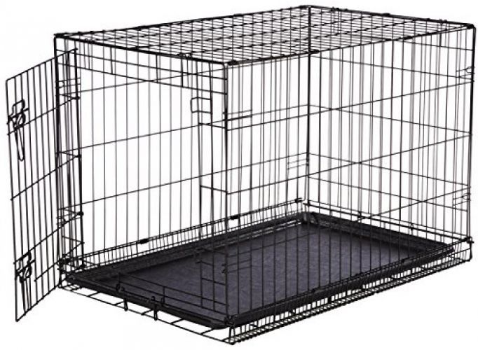 Amazonbasics Single Door Folding Metal Dog Crate Medium 36x23x25 Inches Dog Crate Dog Cages For Sale Large Dog Crate