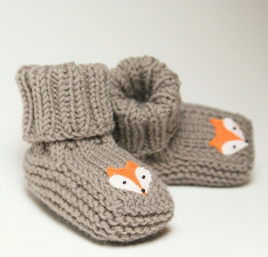 Fox baby booties knitt grey baby slippers MADE TO ORDER by Tuttolv on Etsy